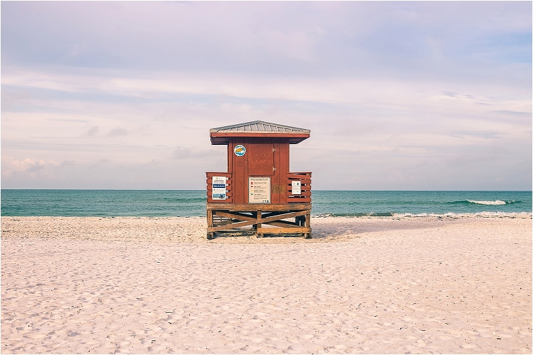 joyful sarasota photography - close up image of red lifeguard stand at the beach