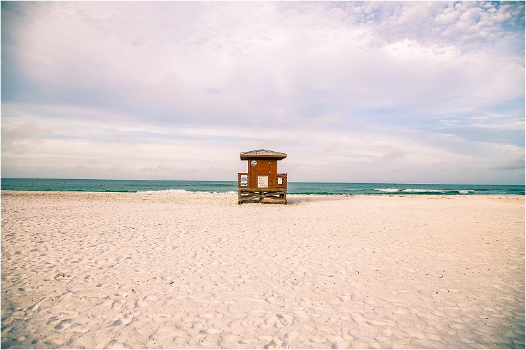 joyful sarasota photography - red lifeguard stand at lido beach