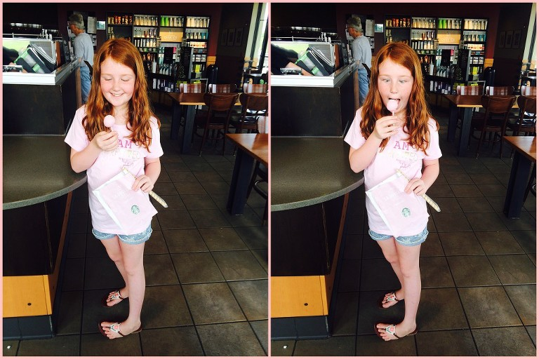Young-Girl-eats-pink-cake-pop-from-starbucks by Ristaino Photography of Sarasota FL