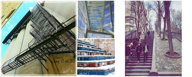Student photos of stairs from summer photo challenge hosted by Ristaino Photography of Sarasota FL.