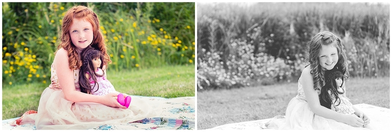 Young girl with red hair and freckles with her American Girl doll having a picnic during Beauty Revived session by Ristaino Photography of Sarasota FL