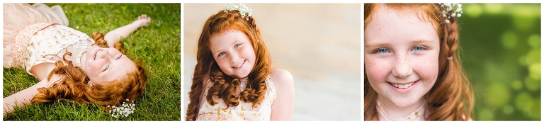 Young girl with red hair and freckles during at Milwaukee VA grounds for Operation Love Lola Beauty Revived Session by Ristaino Photography of Sarasota Florida