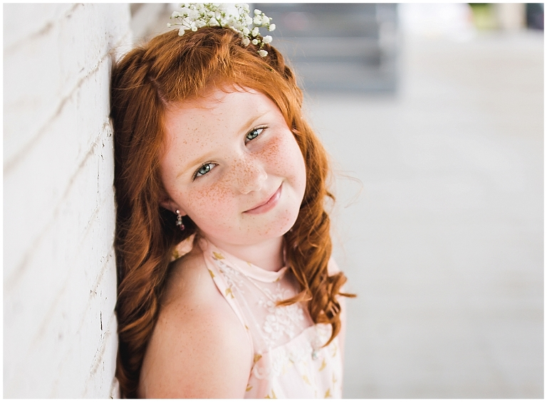 Young girl with red hair and freckles during Operation Love Lola Beauty Revived Session by Ristaino Photography of Sarasota Florida