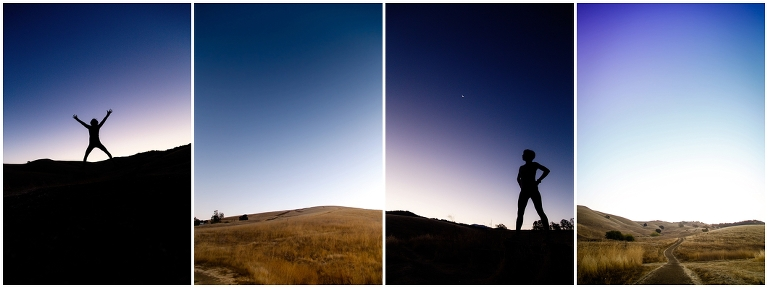 Silhouette portrait of a woman before sunrise in the foothills of mount diablo taken by Ristaino Photography of Sarasota Florida