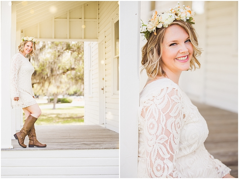 Young woman in lace dress and riding boots with a flower crown on an old farmhouse porch in this image of Sarasota Portrait Photography by Ristaino Photography