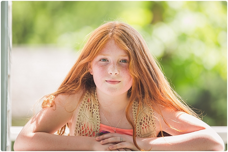 tween headshot of girl with red hair and freckles in sarasota by headshot photographer ristaino photography